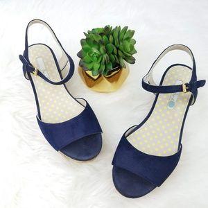 BODEN Blue Suede Cork Wedge Sandals